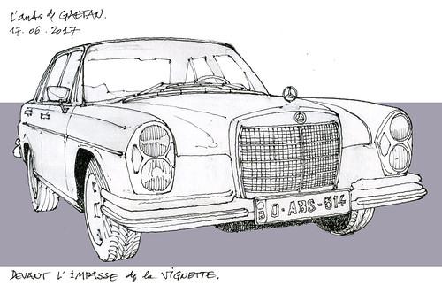 Mercedes 280SE (gerard michel) Tags: auto allemagne mercedes sketch croquis