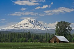 Mt Adams and Barn 2030 E (jim.choate59) Tags: mountain mtadams jchoate barn scenic washington glenwoodwashington landscape collapsingbarn field d610 on1pics