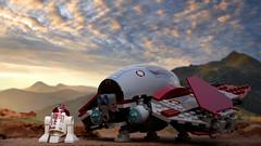 Wait for me here R4 (Cyh Naan) Tags: lego starwars starfighter jedi space obiwan kenobi cloud sky interceptor clone war droid r4p17