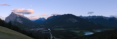 Bow Valley Expanse (stochastic-light) Tags: landscape sunset twilight clouds moon moonrise moonset rundle banff bowvalley banffnationalpark mtrundle mountrundle nikon d7000 35f18dx panorama panoramic mountains rockies rockymountains canadianrockies nature hiking summer canada alberta
