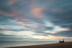 Silver Harvest - Aldeburgh, Suffolk (Justin Minns) Tags: single longexposure summer sunrise leefilters littlestopper aldeburgh blur boat coast lone suffolk clouds