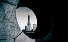 The Shard & The Moon London City by Simon & His Camera (Simon & His Camera) Tags: round hole circle shade architecture building bw blackandwhite city composition curve moon iconic london monochrome outdoor office simonandhiscamera skyline skyscraper tower urban vignette