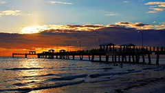 Fort DeSoto Sunset Orange (Clay Henry) Tags: sunset park pier beach tampabay waves gulfofmexico