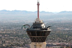 Stratosphere Tower, Las Vegas, NV (Prayitno / Thank you for (12 millions +) view) Tags: konomark lv las vegas lasvegas nv nevada low aerial helicopter flight tour ride maverick heli winddancer stratlv stratosphere tower top tip topoftheworld thrill rollercoaster day time outdoor activity haze hazy structure building architect design skyline overview