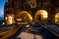 resting ship(s) (levibohnacker) Tags: riomaggiore cinque terre 5 5terre italy la spezia evening clouds sunset lantern lamp blue hour ship ships fisherman fisher port harbour house buildings settlement architecture travelling travel vacation holiday light shadow dark night nightlife time no season