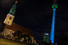 St. Mary Church & The Fernsehturm (KSDiaz) Tags: berlin germany festival lights nightscape landscape after dark guardians light night projector design color guardiansoftime time mysterious