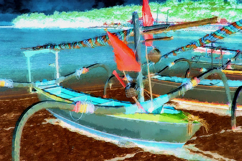 Indonesia - Bali - Padangbai - Outrigger Fishing Boats - 2bb