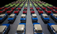 parade (Blende1.8) Tags: opel kadett toycar modelauto miniatur miniaturen colors colours vivid repetition parade museum ruhrmuseum ausstellung ruhrgebiet essen routeindustriekultur nrw carstenheyer oldtimer classic classiccar classiccars cars auto autos green red blue