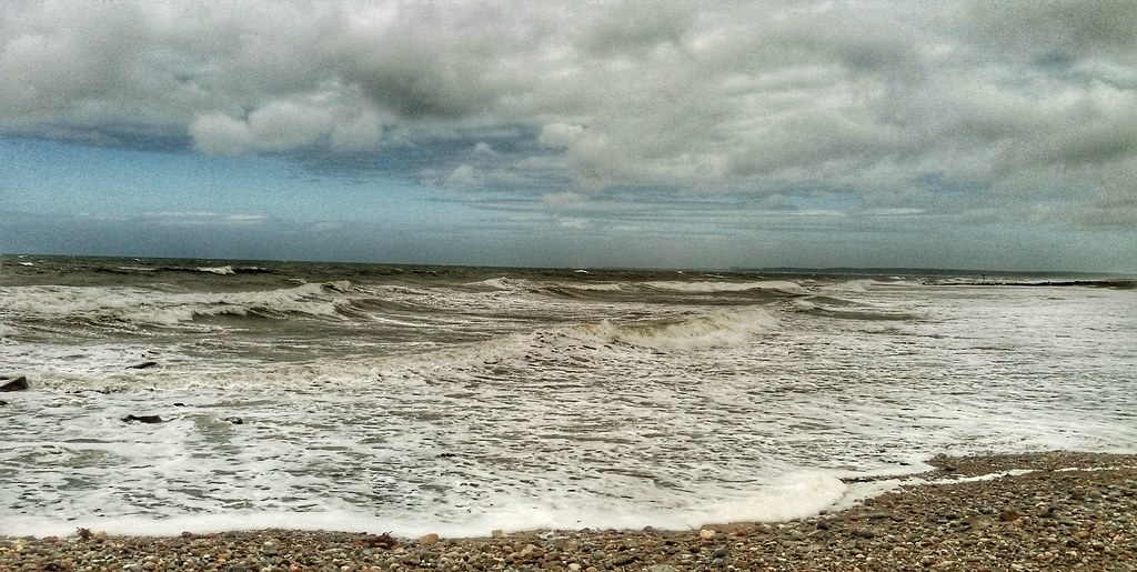 Rough sea at Dinas Dinlle.