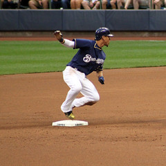 Safe at Second 06222017 (Orange Barn) Tags: baseball majorleaguebaseball milwaukeebrewers pittsburghpirates nightgame milwaukeewisconsin players baseballplayers running stealing 100xthe2017edition 100x2017 image42100