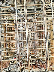 Through the shelves (Thad Zajdowicz) Tags: cellphone prisma abstract lines angles shapes motorola droid turbo arty android mobile availablelight zajdowicz pasadena california indoor inside