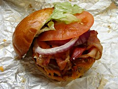 Cannibal Bacon Bad Burger (knightbefore_99) Tags: cannibal cafe burger bacon bad cheddar patty stuffed work lunch tasty vancouver smoked applewood bun takeout takeaway commercialdrive bc