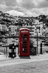 Red Phone Box (_John Hikins) Tags: red phone box bw black blackwhite blackandwhite brixham colour color selective sea seaside pop torbay telephone white d5500 devon nikon nikkor 50mm 50mm18 harbour boats boat bird seagull