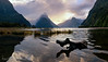 Milford Sound Sunset Panorama (Panorama Paul) Tags: paulbruinsphotography wwwpaulbruinscoza newzealand milfordsound fiordland sunset reflections clouds mountains nikond800 nikkorlenses nikfilters panorama