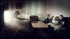 Movie night (Ekaterina Toseva) Tags: experimental creative movie night cinematic photoshop wide indoors room cinema colorcast color ghost spirit 3d edited manipulation photomanipulation selfportrait nikon d7000 tokina1116 capture rays beam light popcorn flash speedlight freeze movienight girl surprised frightened scared throwing jump