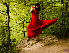 Red Squall (MrPhoenix88) Tags: wind breeze motion girl beauty woman portrait style fashion dress bare brunette forest green red crimson rouge blood face detail love pretty cute explore woods substance feeling emotion quote toronto milton rattlesnakepoint mississauga canada