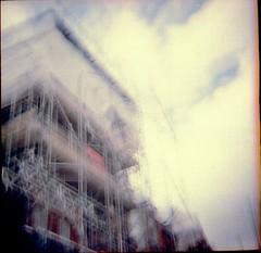 scafffff (Stephanie Overton) Tags: london england 120film lomography film ilford colour building architecture scaffold