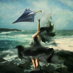 Above the Clouds (anettudud) Tags: people girl woman sea water umbrella landscape self selfportrait creativeselfportrait cloud
