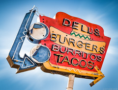 Dell's Drive In (Shakes The Clown) Tags: 500px blue burger burritos california canon5dmarkii colton drivein fastfood flickr font food illumination lights marcshur mexicanfood neon old orange red restaurant retro signgeeks signlanguage signage signs smugmug socal southerncalifornia tacos typography vintage marcshurphotographycom