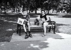 No (Yewbert The Omnipotent) Tags: toronto parks canada lightroom urban city bench reading people candid street bw blackwhite