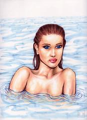 Rosie-100 (artistbyday) Tags: drawing artmarkers rosie model sexy girl brunette wet swimming pinup rosiehuntingtonwhiteley ocean skinnydipping blue eyes biglips ink ripples shoulders