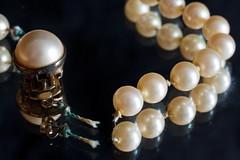 Broken Necklace (ertolima) Tags: pearlnecklace reflection mirror strand vintage heirloom jewelry necklace pearls macromondays broken