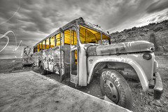 The Light Within (magnetic_red) Tags: bus clouds storm selectivecolor abstract surreal light desert abandoned rusted graffiti lightpainting internationalcarforestofthelastchurch goldfield nevada