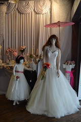 blushing bride (curly_em) Tags: southampton hampshire shops shopping city urban bride bridalshop weddingdress bridesmade pageboy dresses pretty curtains drapes white boquet
