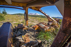 In the Driver's Seat (writing with light 2422 (Not Pro)) Tags: mountain mountsainthelens volcano stratovolcano sonya77 sigma1020mmlens abandoned washingtonstate richborder last view testimony landscape