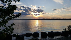 sunset paddle (thomas.erskine) Tags: 20170628201840tee 2017 jun summer sunset clouds river paddler board rocks ottawa