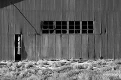 Through and Through (nedlugr) Tags: california ca carrizoplain carrizoplainnationalmonument sanluisobispocounty blackandwhite bw windows shadows throughandthrough corrugated ruraldecay ruralwest barn usa