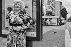 Mannheim Street Frau 152 b&w (rainerneumann831) Tags: bw blackwhite street streetscene ©rainerneumann urban monochrome candid city streetphotography blackandwhite mannheim frau portrait lidl hut marktplatz taube