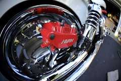 Fisheye Rotor (Atodog) Tags: fisheye wideangle hondavtx1800f vtx motorcycle caliper brakes chrome shocks