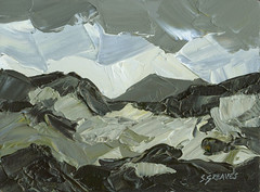 Snowdonia Welsh Mountains - Original Landscape Painting By Steve Greaves (Steve Greaves) Tags: art artwork paint painting artist wales welsh cymru acrylic texture allaprima hills clouds landscape rocks rocky black white grey cobaltblue olivegreen yellowochre paletteknife paintingknife impressionist impressionism expressionist expressionism style investment panel board smear stroke figurative realism abstract kyffin