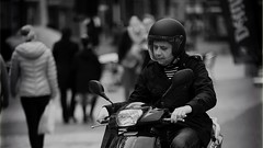 The Unbearable Lightness of Being (Fouquier ॐ) Tags: scooter helmet bw