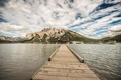 Lake Minnewanka dock (tibchris) Tags: banffnationalpark banff dock minnewaanka mountain panorama lake cloud pier alberta travel landscape