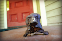 Welcome Basset (MTSOfan) Tags: basset doxie shoescraper antique porch bedandbreakfastfleischmanns ny dog welcome hospitality