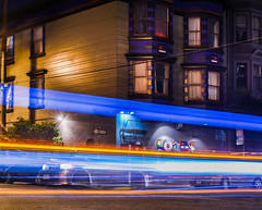 friday night power exchange (pbo31) Tags: bayarea california nikon d810 color summer july 2017 boury pbo31 first evening night dark black lightstream roadway traffic motion folsomstreet soma bar powerexchange friday leather loads 9th orange gay flag