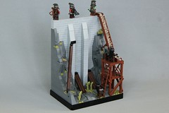 MELO R2: Isengard Dam (jsnyder002) Tags: lego isengard moc creation build lotr lordoftherings dam wall scaffolding urukhai orcs wood supports timber beams water aqueduct rockwork