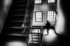 outlook (www.streetphotography-berlin.com) Tags: stairwell stairs factory building house windows alone person light shadow silhouette street streetphotography streetlife kulturbrauerei prenzlauerberg berlin fineart blackandwhite blackwhite