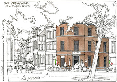 Liège, rue Crèvecoeur (gerard michel) Tags: belgium architecture liège sketch croquis