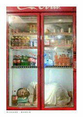 Man asleep in his fridge, Fes, Morocco. (Richard Murrin Art) Tags: fes morocco richard murrin art photography canon 5d landscape travel images building cool