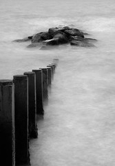 Cleveleys sea shore (keithjheyworth) Tags: cleveleys sea slow groin rocks mono