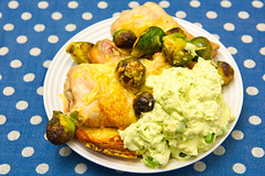 Chicken drumsticks with creamy avocado (garydlum) Tags: chicken belconnen avocado sourcream englishmuffin brusselssprouts chickendrumsticks canberra cheese springonion