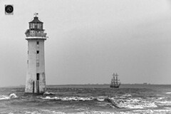 As tradition has it. (alun.disley@ntlworld.com) Tags: sailingship shipping newbrighton lighthouse rivermersey weather nature wirral merseyside liverpool portsandharbours tidal mono blackandwhite oldtime traditional antique waves breakwater
