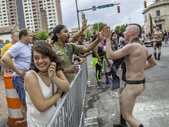 Em-bare-assed (crabsandbeer (Kevin Moore)) Tags: event baltimore color fun gay men music parade people pride summer women shy girl embarrass embarrassed leather sm highfive happy thong northavenue charlesstreet street