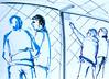 Der Käfig II - Nur zu Besuch (annamaria.herlt) Tags: besucher viistors visitantes visitatori visiteurs aussichtsplattform viewingarea plateformedobservation plataformadeobservação plataformadeobservación piattaformapanoramica stuttgart hauptbahnhof mainstation estación gare stazione estação käfig cage gaiola jaula gabbia zeichnung drawing dessin dibujo disegno desenho croquis esboço abbozzo bosquejo kunst art arte skizze sketch skizzenblock sketchpad markerpen blau bleu blu azul blue grey gris grau grautöne grigio grosstadt ville ciudad city cité cidade centreville stadtmitte städtisch urban urbano urbain arturbain citysketch location