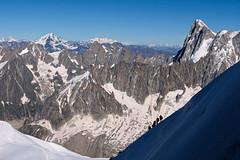 Alpinists (morganelafond) Tags: alpinist mountain mountaineers alpinistes marcheurs alps alpes montagne neige snow sun summer été soleil ciel bleu silhouette silhouettes marcher randonneur mont aiguilledumidi aiguille france europe crête vue horizon canon ombre shadow roche rocheuse rock pente descente
