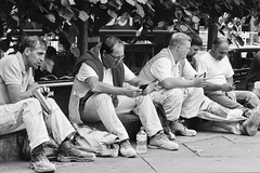 Day 181. Lunch break. (Rob Emes) Tags: overall sitting rest break breaking workers lunch street urban city london g7xii canon white bw black mono 3652017 365 jun2017