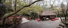 A teahouse in Nara (Piyush Bedi) Tags: nara nippon japan asia hdr pano panorama panoramic tea teahouse red bridge thatchedroof forest fantasy feudal fujifilm fuji xt1 green